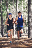Trail running couple Royalty Free Stock Photo