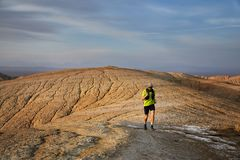 Trail running in the desert stock photography