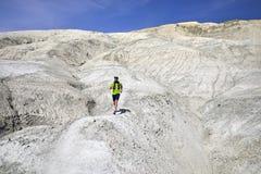 Trail running in the desert stock photos