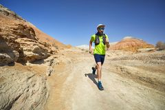 Trail running in the desert royalty free stock photography