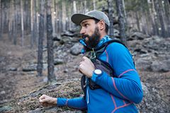 Trail running in the forest stock photography