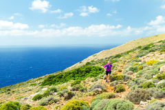 Trail running happy woman in beautiful mountains Stock Image