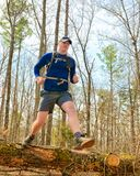 Trail Running. A man trail running out in nature Royalty Free Stock Images