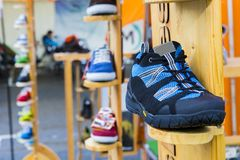 Trail running shoe. Commercial photography of a pair of trail running shoe in Brasov city, Romania Stock Image