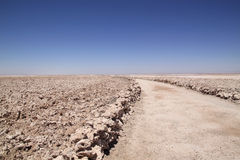 Trail through Salar de Atacama, Chile Stock Photo