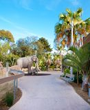 Trail in San Diego zoo with elephant sculpture. Stock Photography