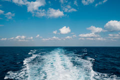 Trail on the sea behind the cruise ship Royalty Free Stock Images