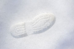 Trail shoes on snowflakes Stock Photography