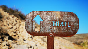 Trail Sign. Sign on a hiking trail Royalty Free Stock Images