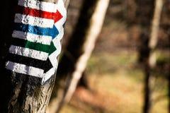 Trail sign in Bieszczady Mountains, Poland Royalty Free Stock Photos