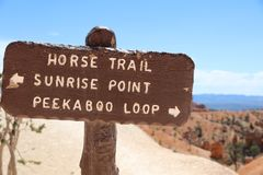 Trail Sign in Bryce Canyon National Park. Utah Royalty Free Stock Images