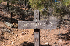Trail sign, foot traffic keep right Royalty Free Stock Photo