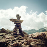 Trail Sign. Man like stone pyramid. Caucasus Mountains vintage e Stock Images