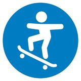 Trail for skateboarders, traffic sign Royalty Free Stock Images