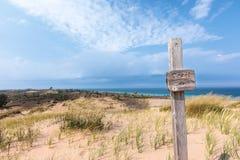 Trail at Sleeping Bear Dunes National Lakeshore, USA. Trail sign designates a hiking path at Sleeping Bear Dunes National Lakeshore, near Glen Arbor Michigan Stock Image