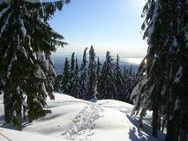 Trail in the snow. View from Grouse Mountain -Vancouver Stock Photo
