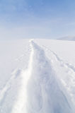 Trail in the snow in the mountains Royalty Free Stock Photography