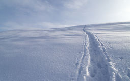 Trail in the snow in the mountains Royalty Free Stock Photos