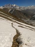 The trail in the snowy mountains Royalty Free Stock Photography