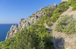 The trail on the steep mountainside. Stock Photo