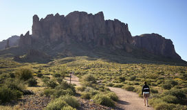 A Trail into the Superstition Mountain Wilderness. APACHE JUNCTION, ARIZONA - MARCH 15: Lost Ductchman State Park on March 15, 2015, near Apache Junction Royalty Free Stock Photography