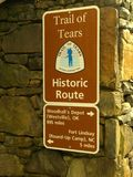 Trail of Tears Sign stock photo