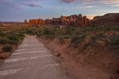 Trail to Double Arch at sunrise Stock Photography