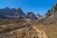 Trail to Dzongla village and Chola pass, Everest region, Nepal Royalty Free Stock Photo