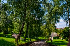 The trail to the fortress in Gradacac city stock photo