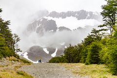 Trail to Glacier Martial. Trekking, Ushuaia, Argentina stock images