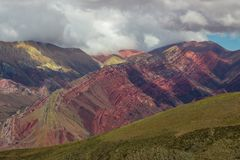 Trail to Hornocal, 14 color mountain. Colorful mountains in Jujuy, Argentina Stock Photos