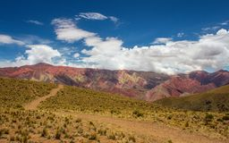 Trail to Hornocal, 14 color mountain. Colorful mountains in Jujuy, Argentina Stock Image