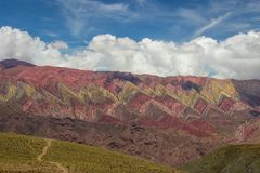 Trail to Hornocal, 14 color mountain. Colorful mountains in Jujuy, Argentina Stock Photo