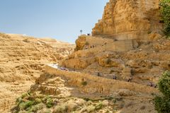 Trail to the monastery of Saint George of Choziba in the Holy La. The monastery of Saint George of Choziba in Judaean Desert near Jericho in the Holy Land Royalty Free Stock Photos