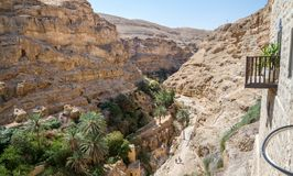 Trail to the monastery of Saint George of Choziba in the Holy La. The monastery of Saint George of Choziba in Judaean Desert near Jericho in the Holy Land Stock Images