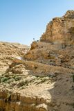 Trail to the monastery of Saint George of Choziba in the Holy La. The monastery of Saint George of Choziba in Judaean Desert near Jericho in the Holy Land Stock Photography