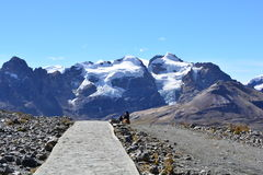 Trail to the Pastoruri glacier, inside the Huascarán National Park, Peru. The famous Pastoruri glacier, one of the touristical attractions of the Huascarán Royalty Free Stock Image