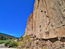 Trail to Ruins in Bandelier National Monument. A trail winds through Frijoles Canyon to Native American ruins in Bandelier National Monument.  Los Alamos, New Royalty Free Stock Photo