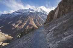 Trail to Tilicho Lake, Annapurna circuit trek. Himalayan Mountains. Nepal. Trail to Tilicho Lake, Himalayan Mountains of Nepal. Annapurna circuit trek stock photo