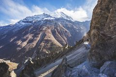 Trail to Tilicho Lake, Annapurna circuit trek. Himalayan Mountains. Nepal. Trail to Tilicho Lake, Himalayan Mountains of Nepal. Annapurna circuit trek royalty free stock image
