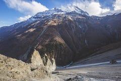 Trail to Tilicho Lake, Annapurna circuit trek. Himalayan Mountains. Nepal. Trail to Tilicho Lake, Himalayan Mountains of Nepal. Annapurna circuit trek stock photography