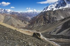 Trail to Tilicho Lake, Himalayan Mountains. Annapurna circuit trek, Nepal. Trail to Tilicho Lake, Himalayan Mountains of Nepal. Annapurna circuit trek royalty free stock image