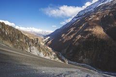 Trail to Tilicho Lake, Annapurna circuit trek. Himalayan Mountains. Nepal. Trail to Tilicho Lake, Himalayan Mountains of Nepal. Annapurna circuit trek royalty free stock photos
