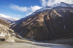 Trail to Tilicho Lake, Annapurna circuit trek. Himalayan Mountains. Nepal. Trail to Tilicho Lake, Himalayan Mountains of Nepal. Annapurna circuit trek stock images