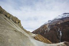Himalayan Mountains of Nepal. Annapurna circuit trek. Trail to Tilicho Lake, Himalayan Mountains of Nepal. Annapurna circuit trek stock images