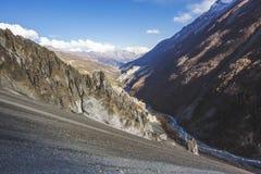 Trail to Tilicho Lake, Annapurna circuit trek. Himalayan Mountains. Nepal. Trail to Tilicho Lake, Himalayan Mountains of Nepal. Annapurna circuit trek royalty free stock images