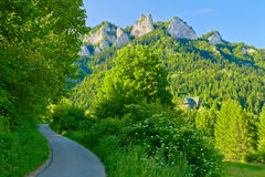 Trail to the top of the Three Crowns in Pieniny. Royalty Free Stock Images
