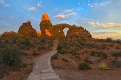 Trail to Turret Arch. At sunrise The Windows Section near Moab Royalty Free Stock Image