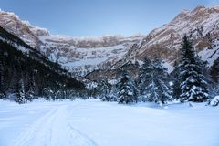 Trail towards the Cirque de Gavarnie with snow in winter in the Royalty Free Stock Image