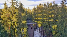 The Trail Trees Lipno Lookout. The entrance to The Trail Trees Lipno Lookout, a tall lookout tower built by the forestry community in Czech Republic. Here you Royalty Free Stock Photos